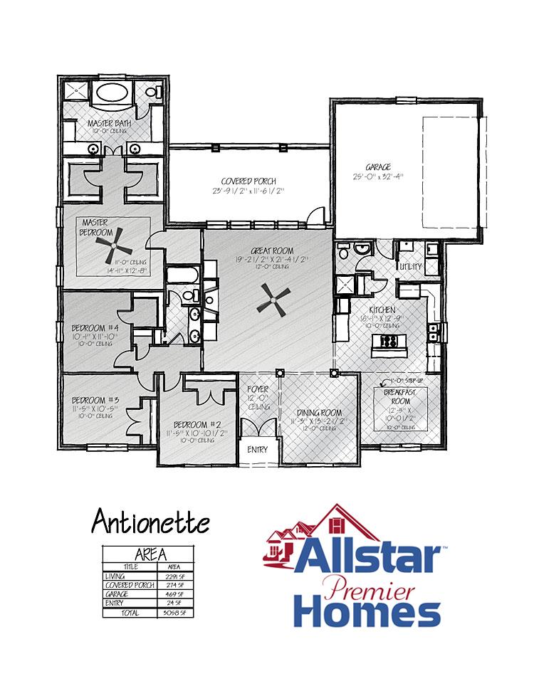 New Home Sample Floor Plans All Star Premier Homes