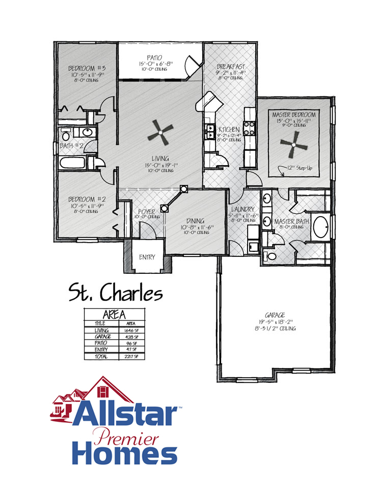 New home sample floor plans all star premier homes for Sample home floor plans